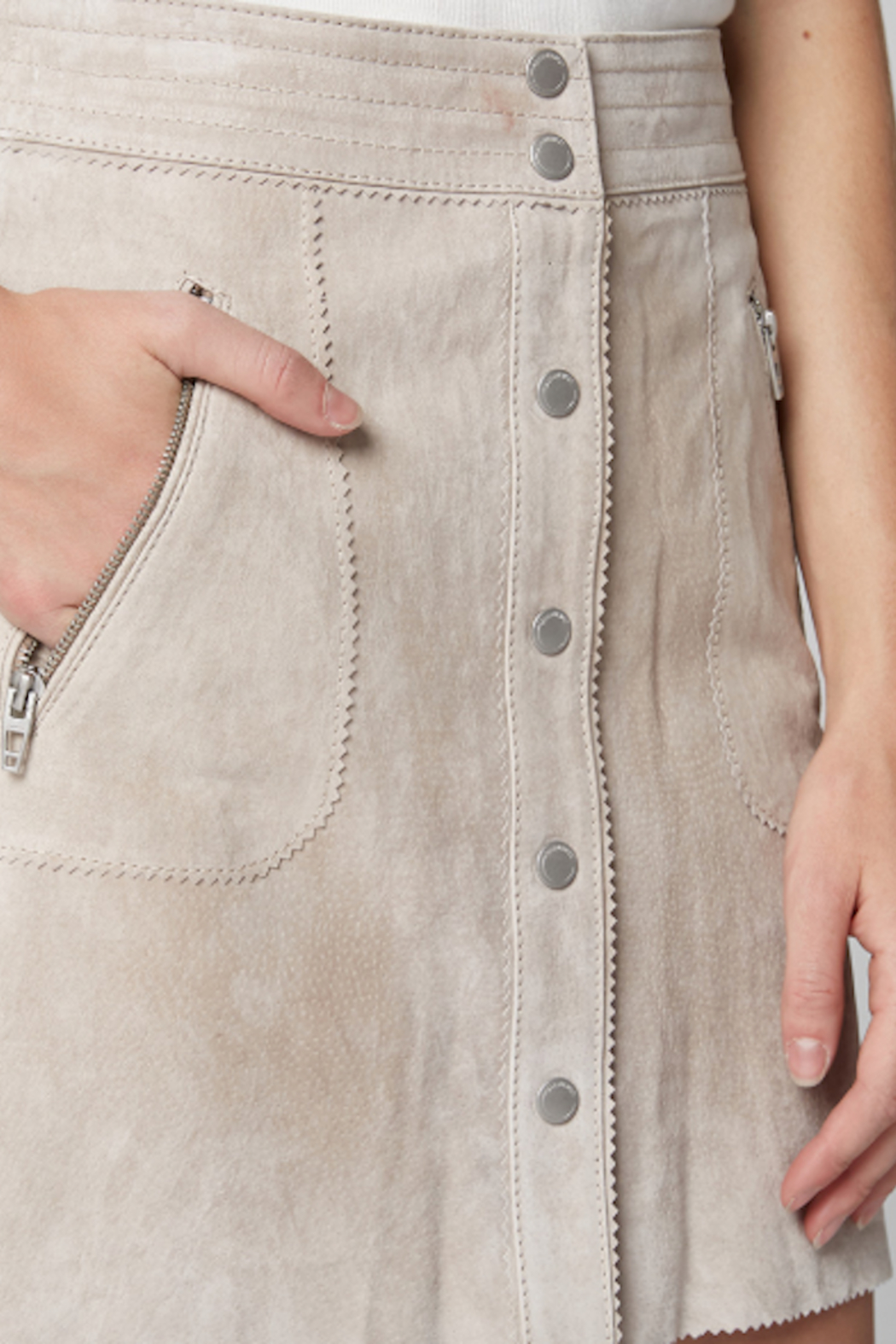BlankNYC Button Front Suede Skirt - Back Cropped Image