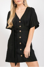 LoveRiche Button front tie dress - Product Mini Image