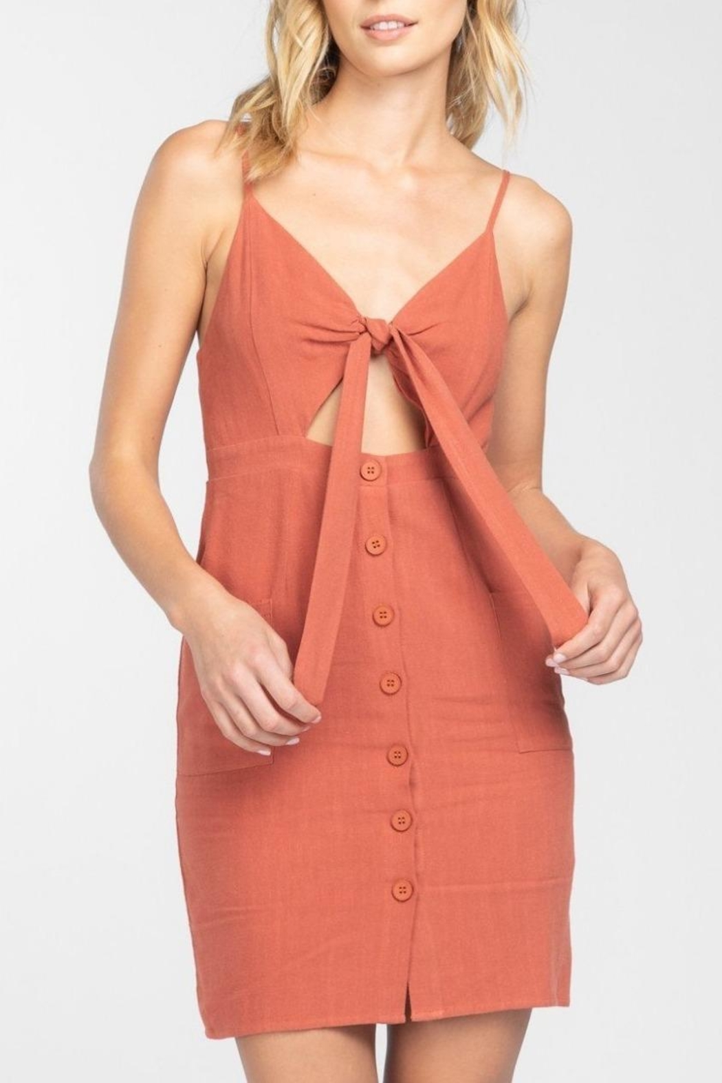 Everly Button Front-Tie Mini-Dress - Main Image