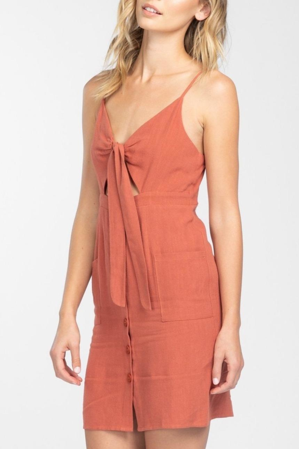 Everly Button Front-Tie Mini-Dress - Front Full Image