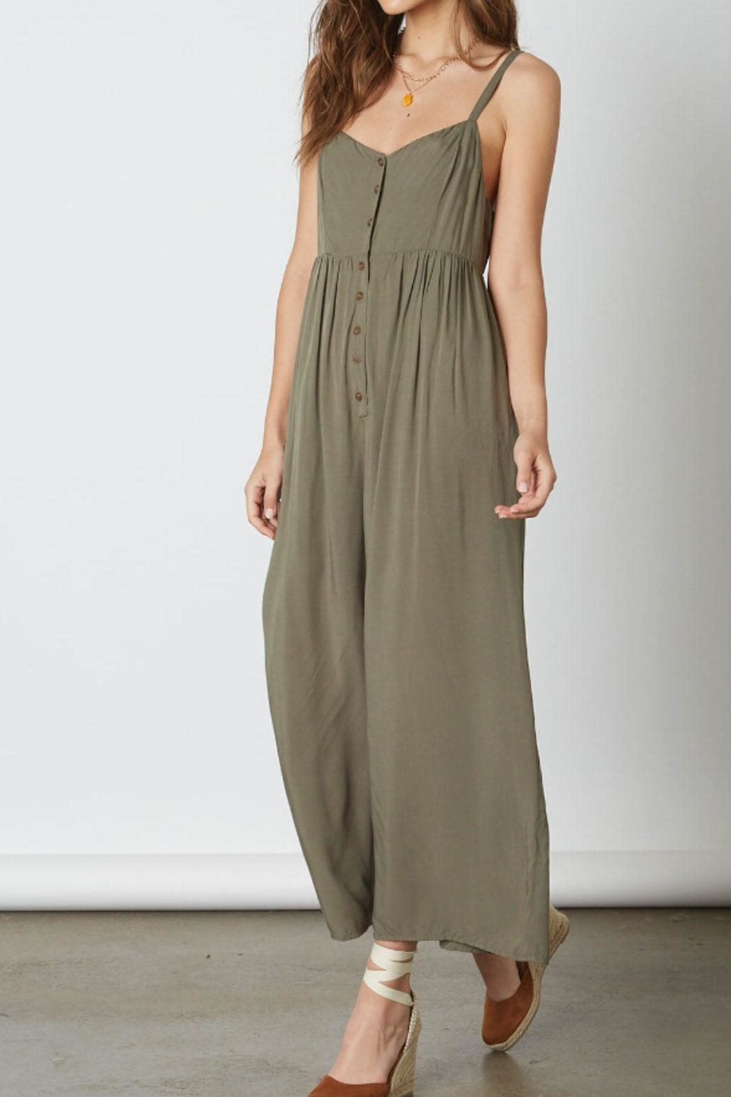 Cotton Candy Button Gaucho Jumpsuit - Front Full Image
