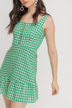 Lush Clothing  Button Gingham Dress - Product List Image