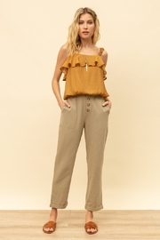 Hem and Thread Button Loose Fit Trousers - Product Mini Image