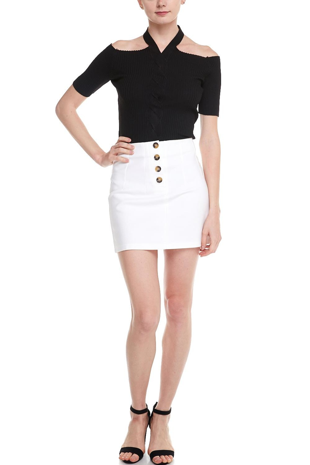 Alythea Button Mini Skirt - Back Cropped Image