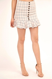 Olivaceous Button Plaid Skirt - Product Mini Image