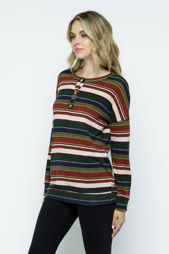 Twenty Second Button Point Striped Long Sleeve Top - Product List Image