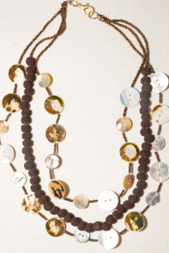 Handmade by CA artist Mother of Pearl Shell Button & Coconut Seed Necklace - Product List Image