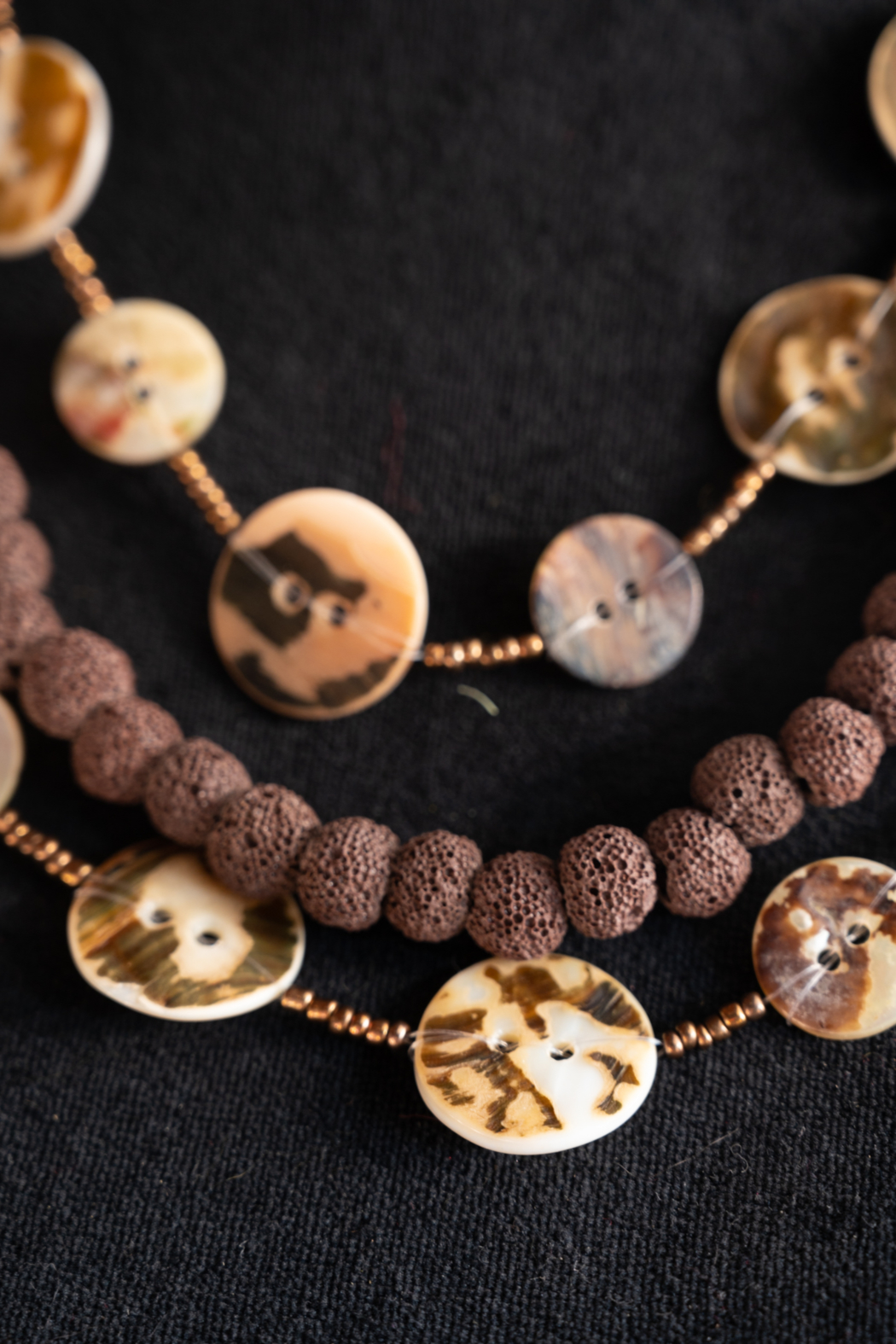 Handmade by CA artist Button Shell Necklace - Side Cropped Image