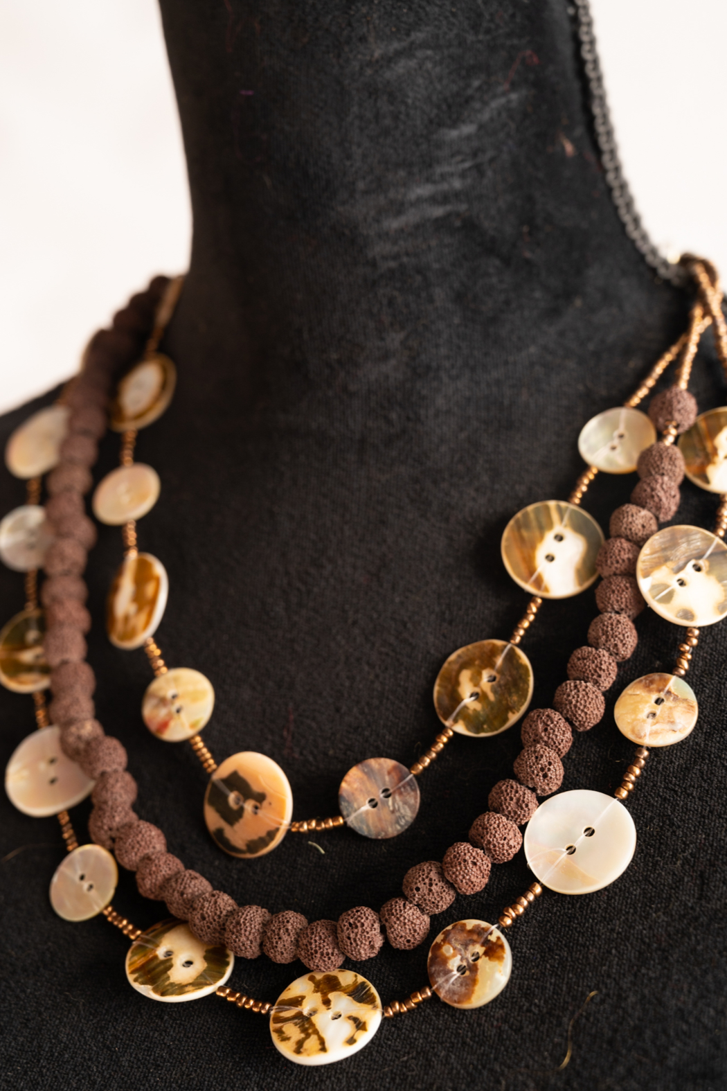 Handmade by CA artist Button Shell Necklace - Main Image