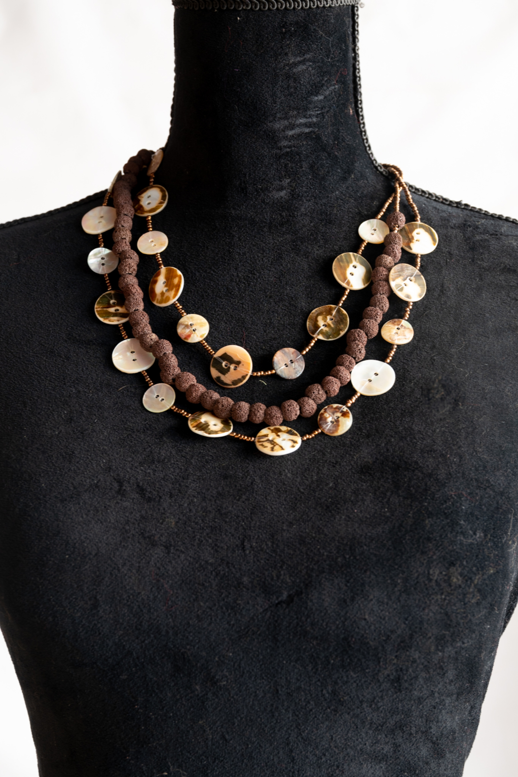 Handmade by CA artist Button Shell Necklace - Front Full Image