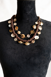 Handmade by CA artist Button Shell Necklace - Front full body