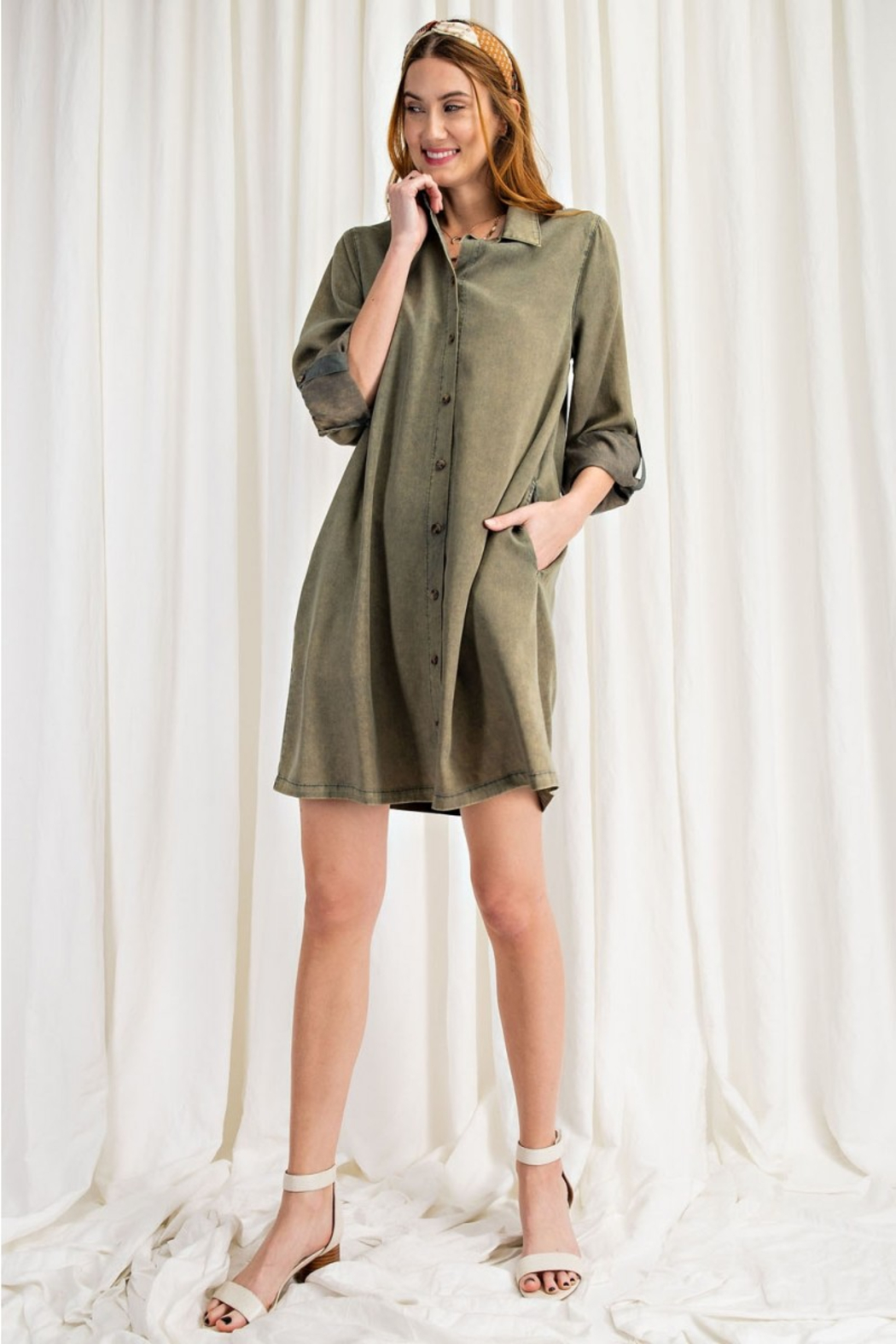 easel  Button Shirt Dress - Front Full Image
