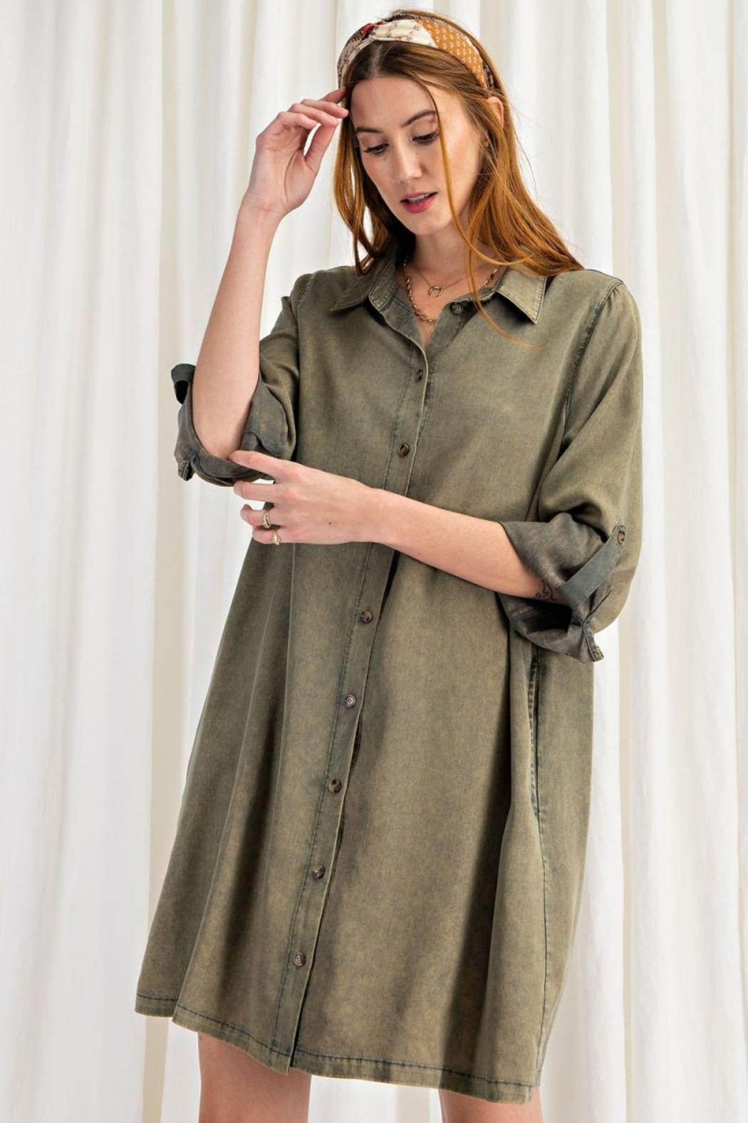 easel  Button Shirt Dress - Side Cropped Image