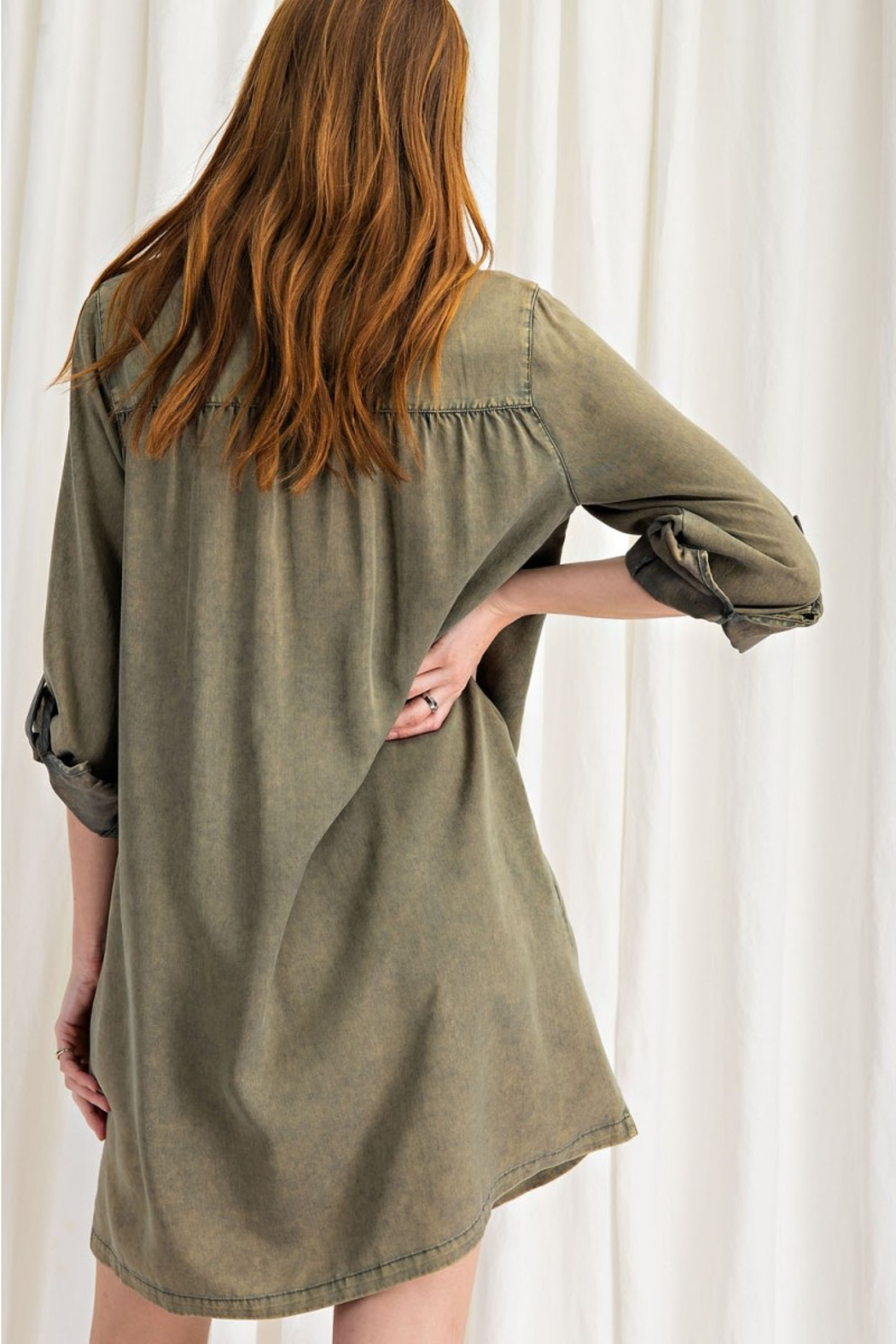 easel  Button Shirt Dress - Back Cropped Image