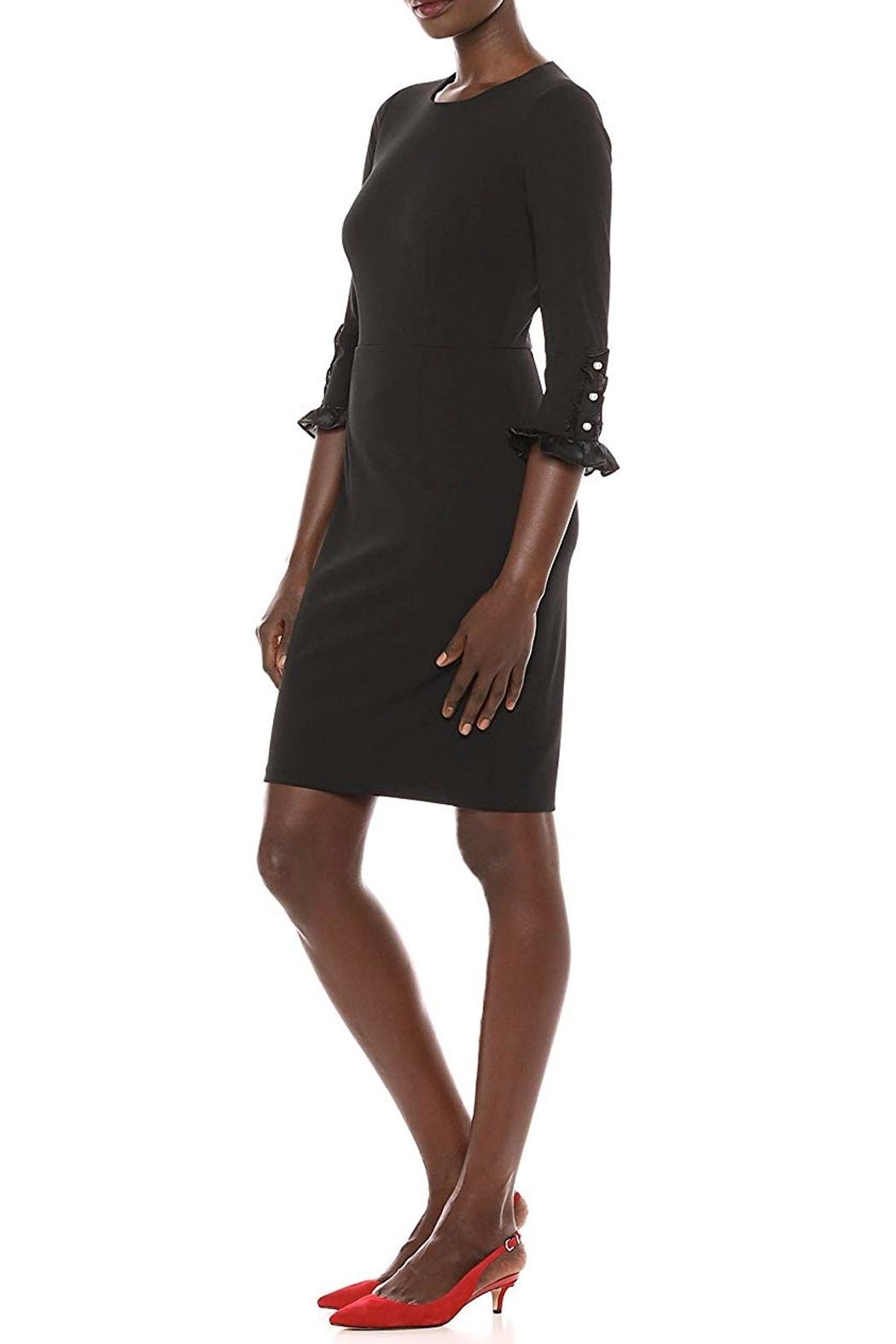 Donna Morgan Button Sleeve Dress - Front Full Image