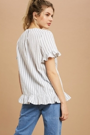 Listicle Button Stripe Blouse - Product Mini Image