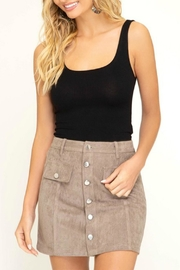 Pretty Little Things Button Suede Skirt - Front cropped