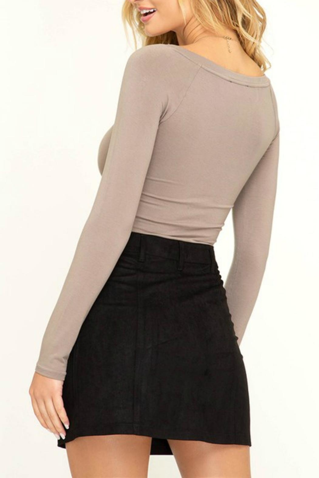 Pretty Little Things Button Suede Skirt - Front Full Image