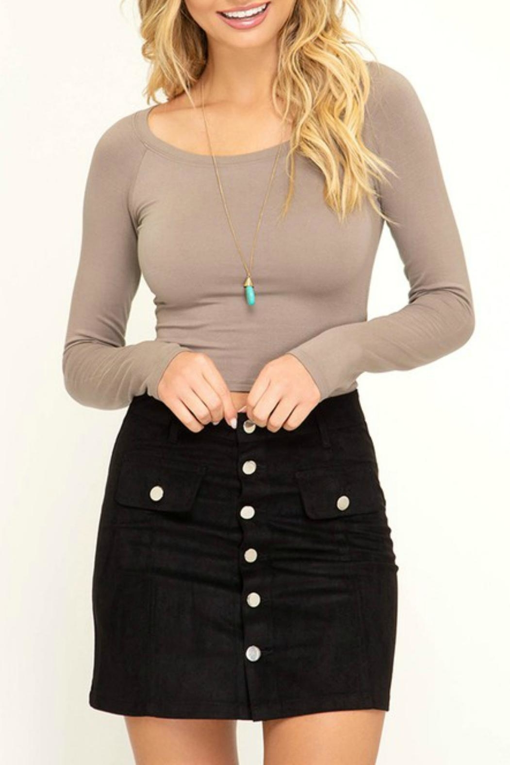 Pretty Little Things Button Suede Skirt - Front Cropped Image