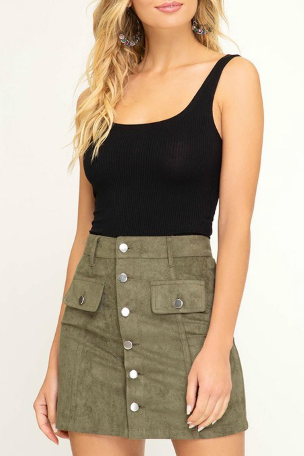Pretty Little Things Button Suede Skirt - Main Image