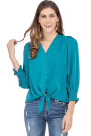 Jade Button Tie Front Top - Product Mini Image