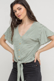Lush Clothing  Button Tie Front Top - Product Mini Image