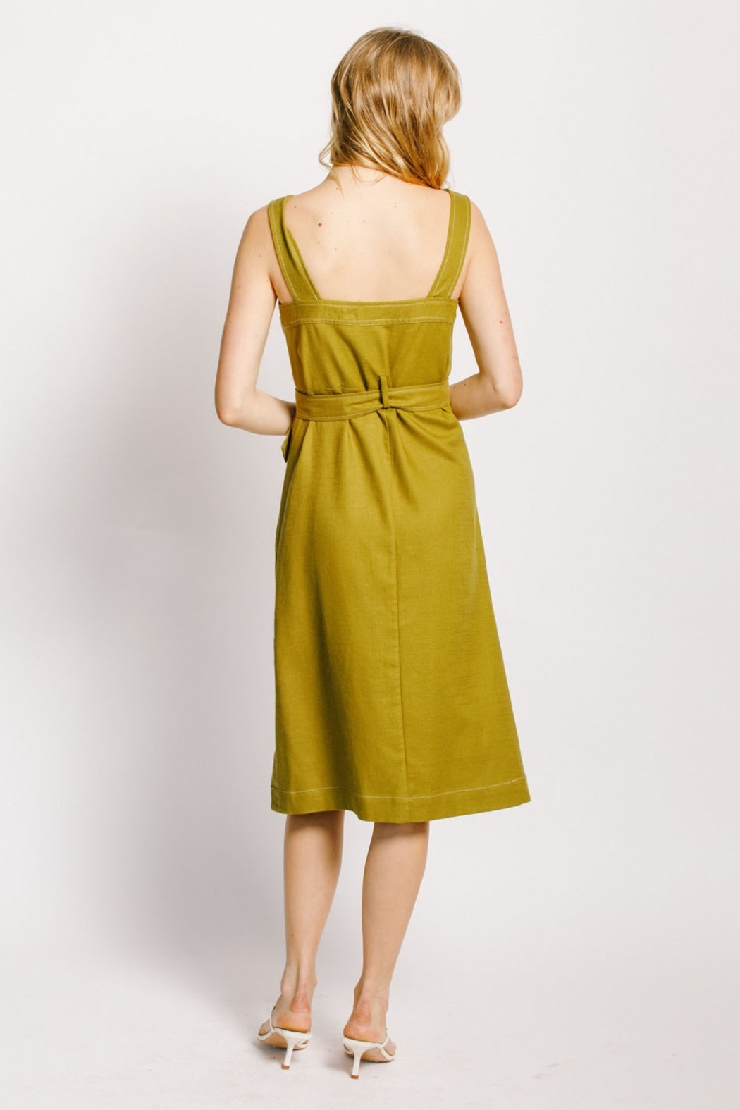 Moodie Button Up Belted Dress - Front Full Image