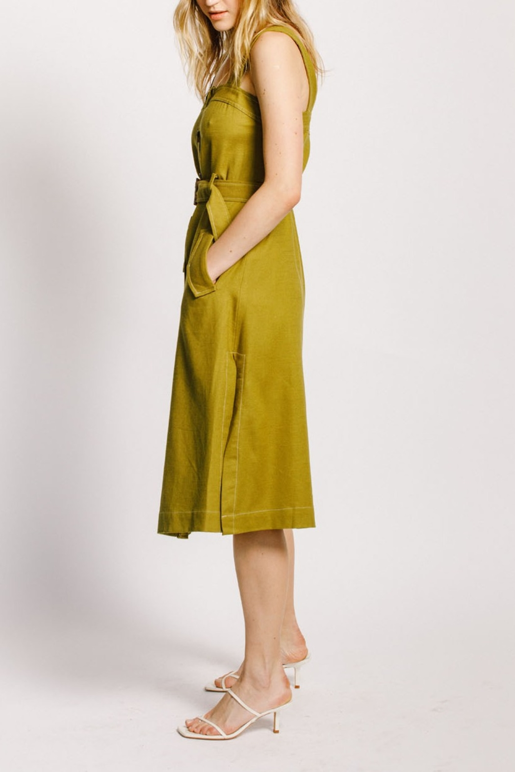 Moodie Button Up Belted Dress - Back Cropped Image