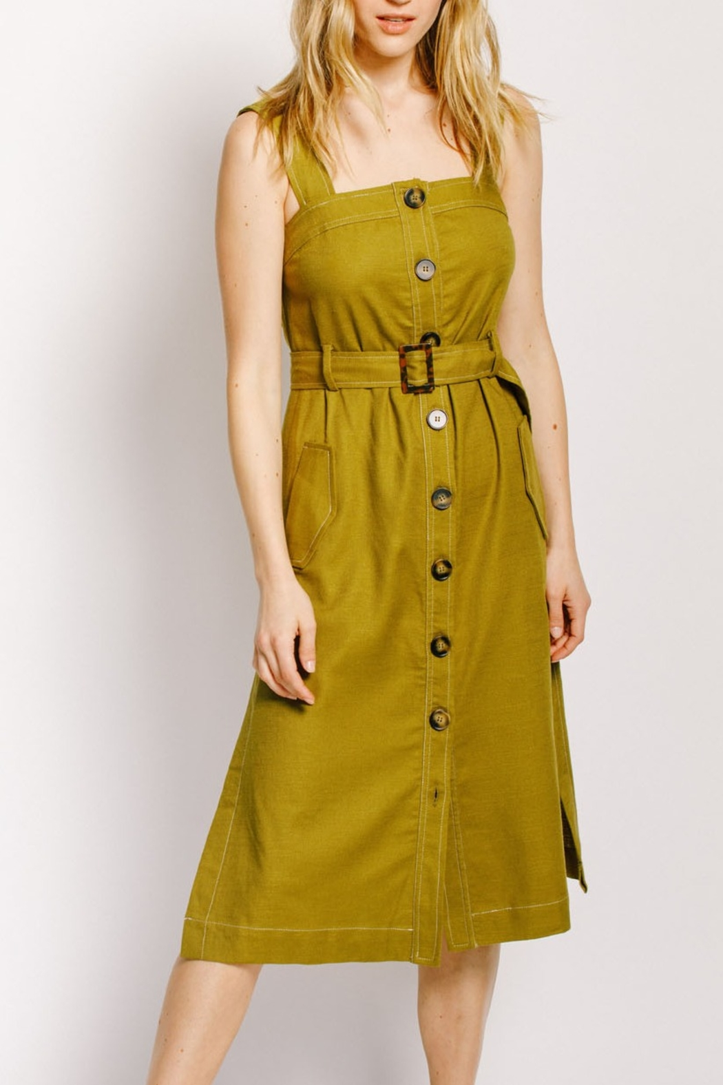 Moodie Button Up Belted Dress - Main Image