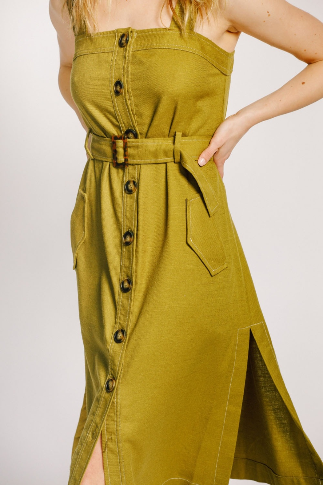 Moodie Button Up Belted Dress - Side Cropped Image