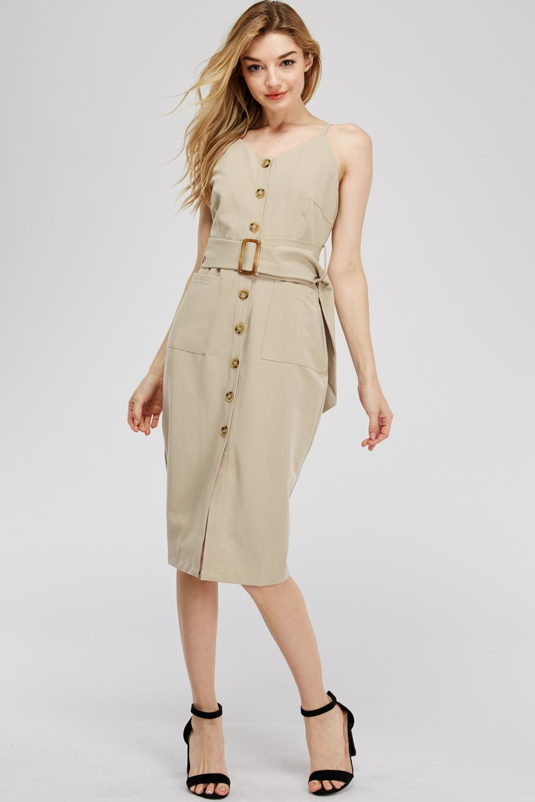 Main Strip Button-Up Belted Dress - Main Image