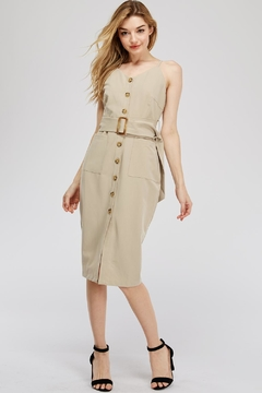 Main Strip Button-Up Belted Dress - Product List Image
