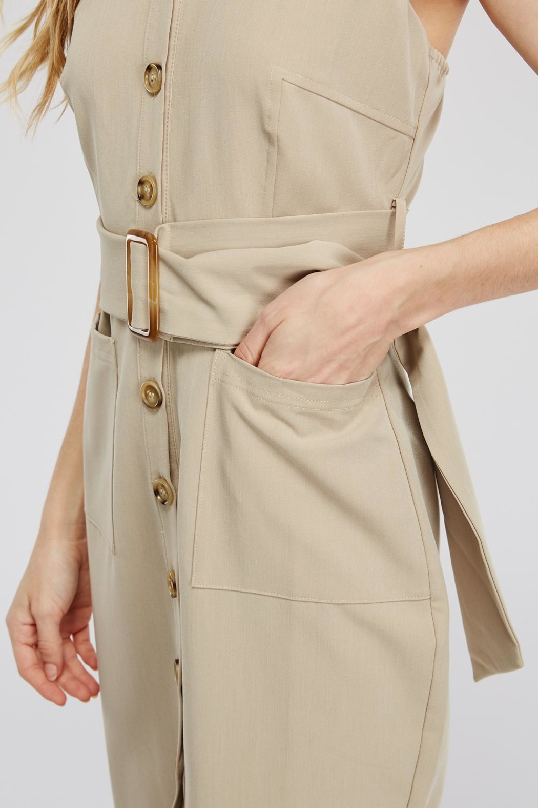 Main Strip Button-Up Belted Dress - Back Cropped Image