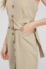 Main Strip Button-Up Belted Dress - Back cropped