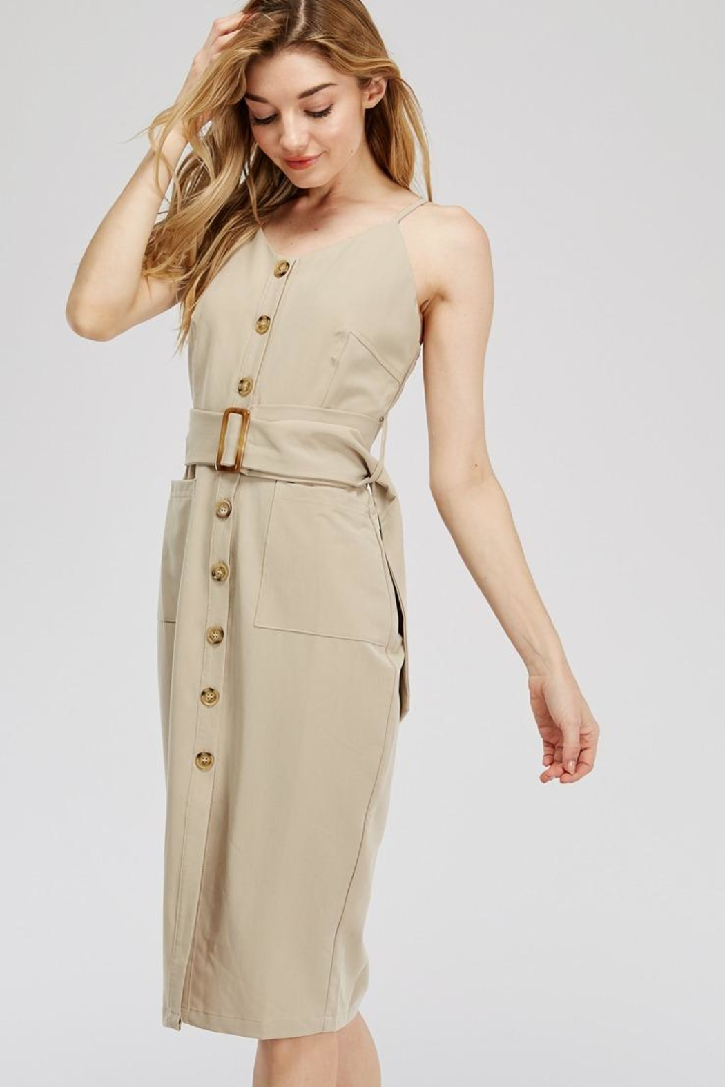 Main Strip Button-Up Belted Dress - Front Full Image