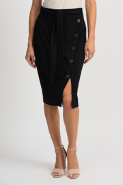 Joseph Ribkoff Button Up Belted Skirt, Black - Product Mini Image