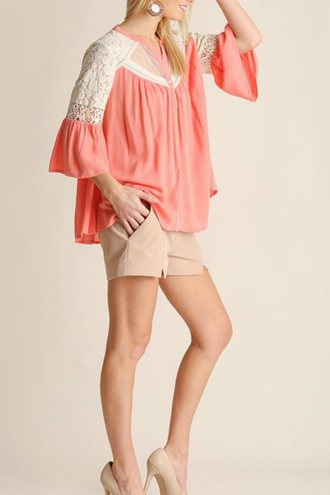 Umgee USA Button Up Blouse - Front Full Image