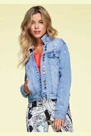 Charlie B Button Up Distressed Jean Jacket - Front cropped