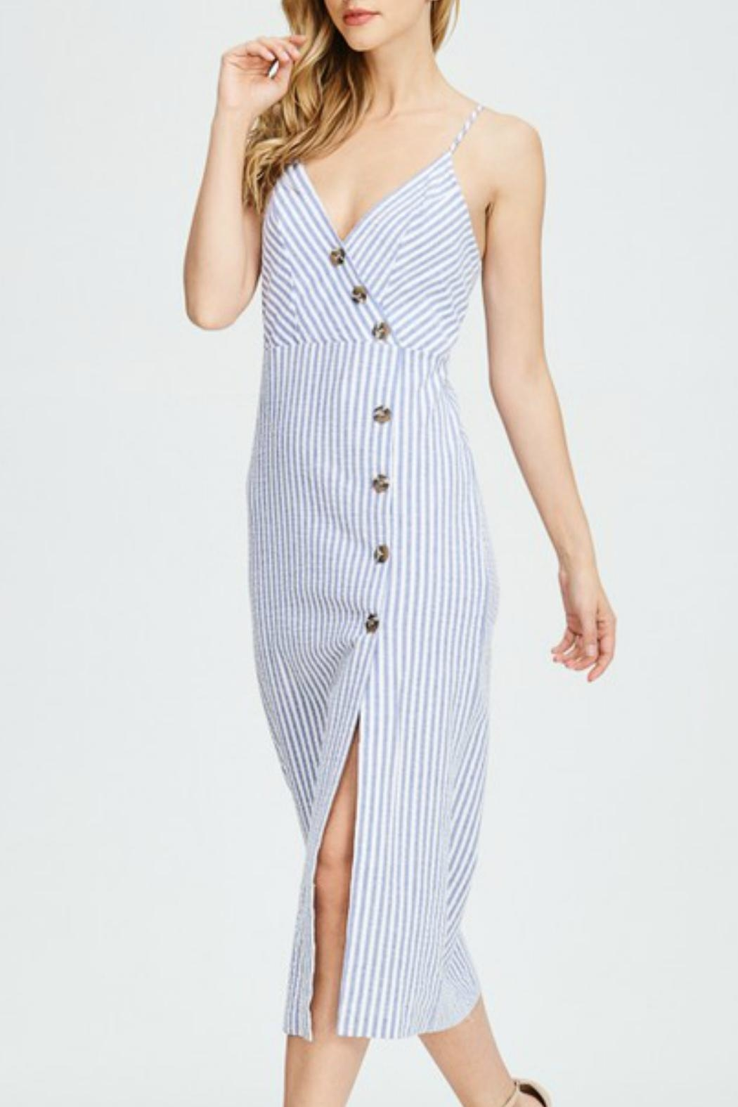 Hello Miss Button Up Dress - Front Cropped Image