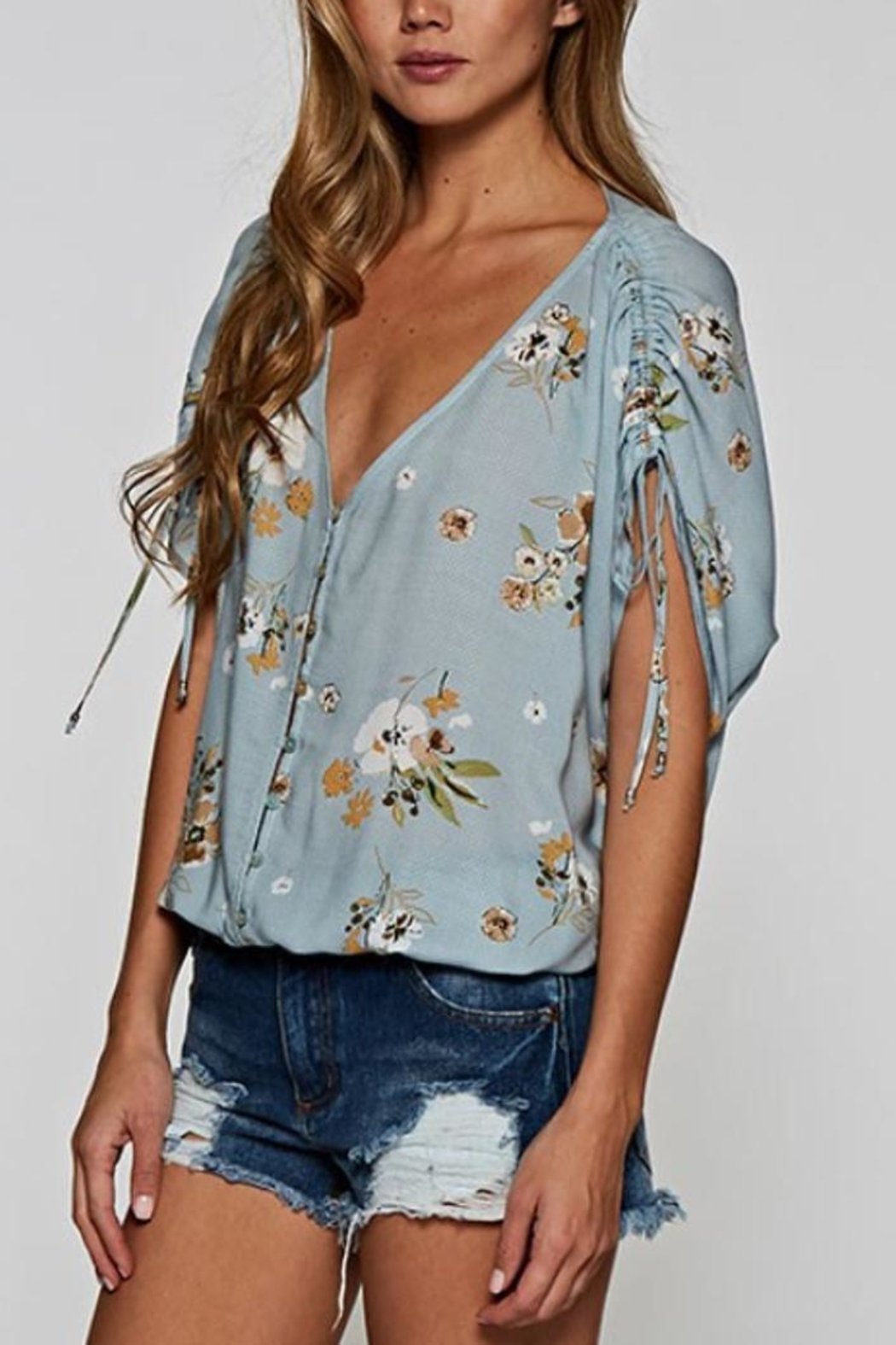 Lovestitch Button-Up Floral Top - Front Full Image