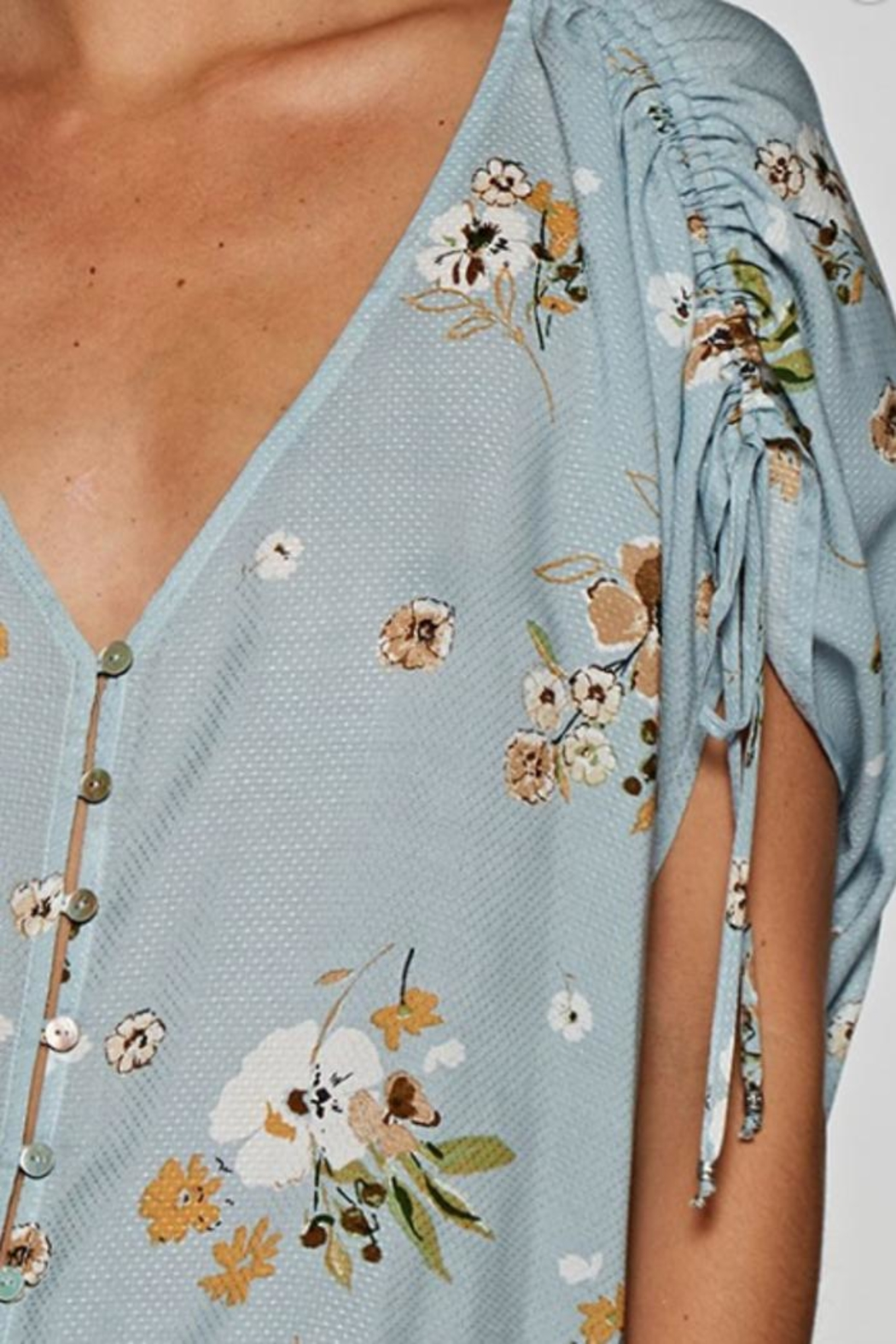Lovestitch Button-Up Floral Top - Back Cropped Image
