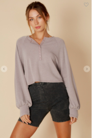 blue blush Button Up Henley Top - Product Mini Image