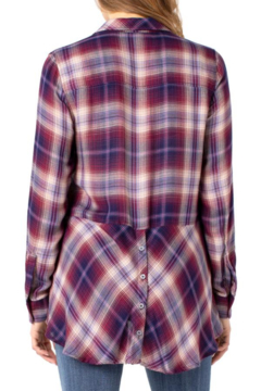 Liverpool  Button up Plaid Shirt with Button Back Detail - Alternate List Image
