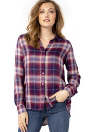 Liverpool  Button up Plaid Shirt with Button Back Detail - Product Mini Image