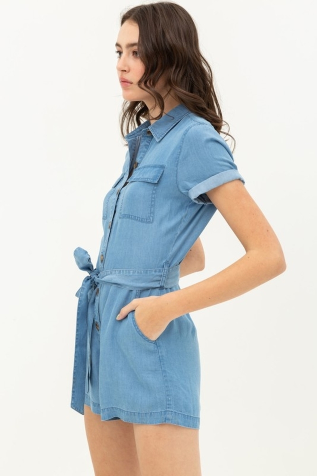 Love Tree  Button Up Romper - Main Image