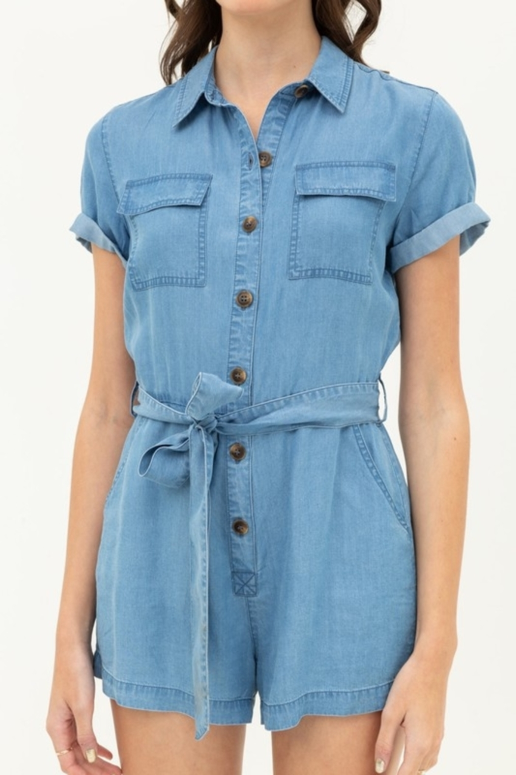 Love Tree  Button Up Romper - Side Cropped Image
