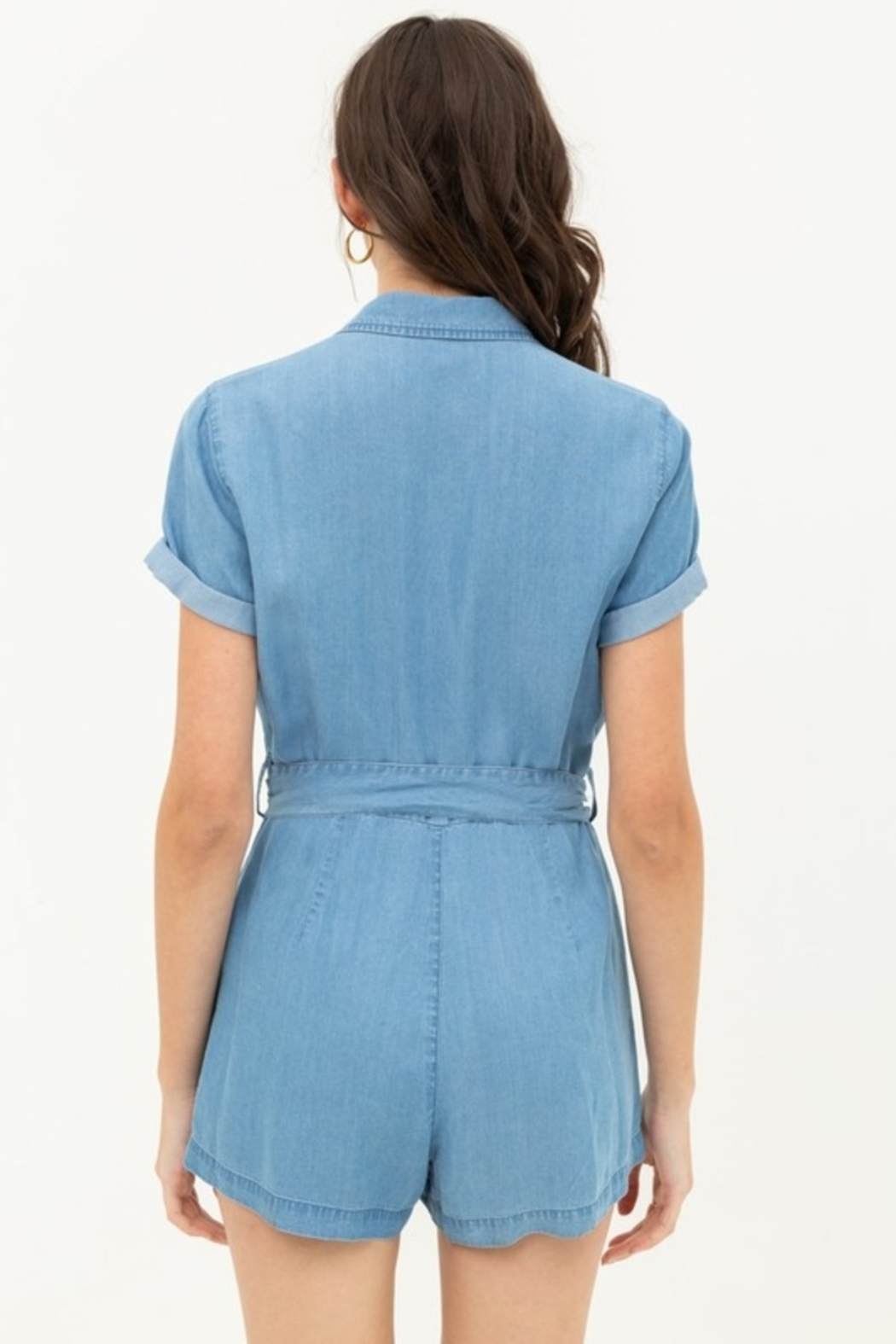 Love Tree  Button Up Romper - Back Cropped Image