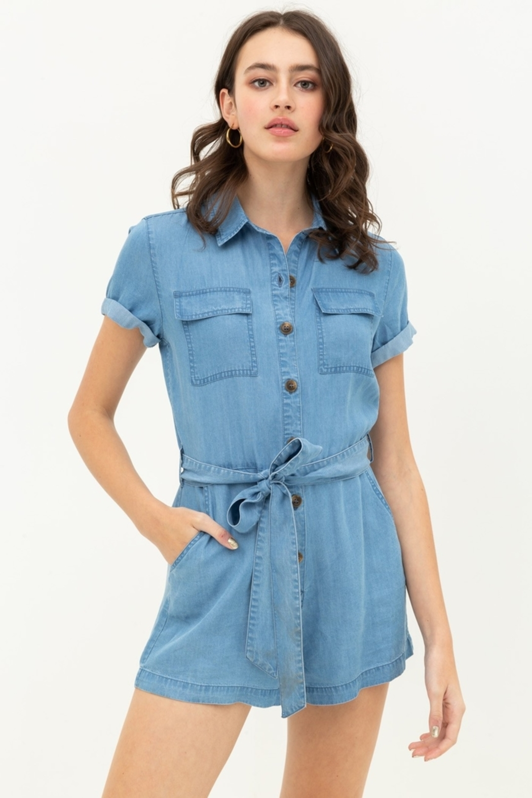 Love Tree  Button Up Romper - Front Cropped Image