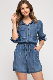 She and Sky BUTTON UP ROMPER WITH POCKETS - Product Mini Image