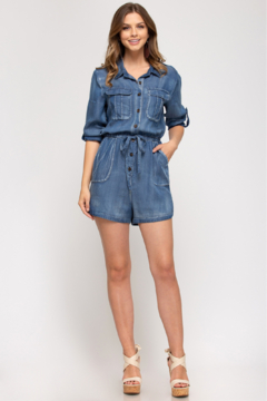 She and Sky BUTTON UP ROMPER WITH POCKETS - Alternate List Image